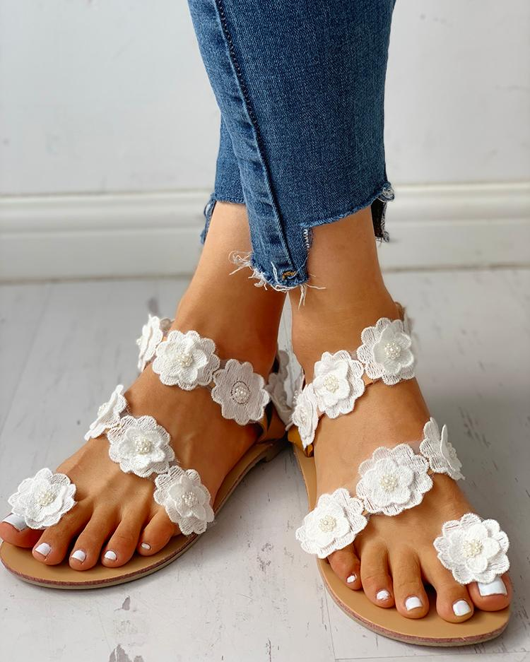 Flower Embellished Open Toe Flat Sandals