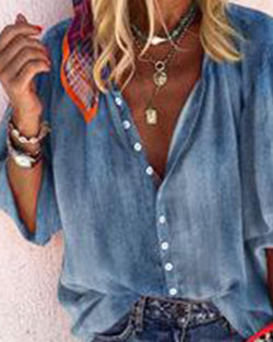 Solid Button-Up Blouse
