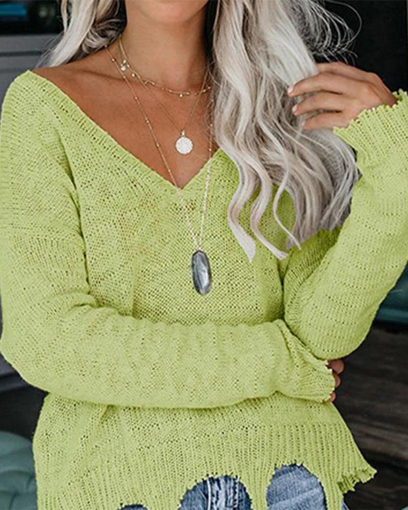 Solid V Neck Ripped Hem Loose Knit Sweater