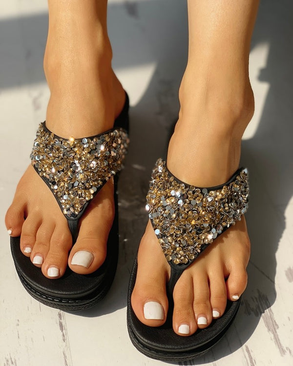 Glitter Sequin Embellished Toe Post Muffin Sandals