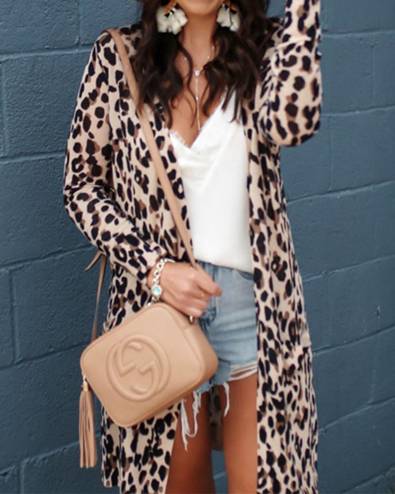 Long Sleeve Leopard Print Open Coat