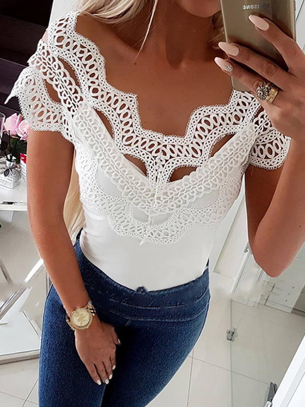 Hollow Out Lace Insert Casual Top