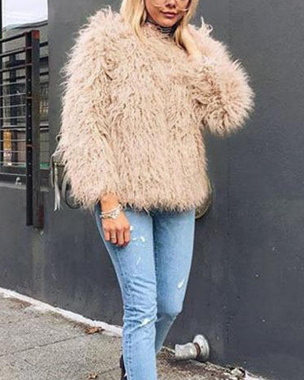 Faux Fur Khaki Coat