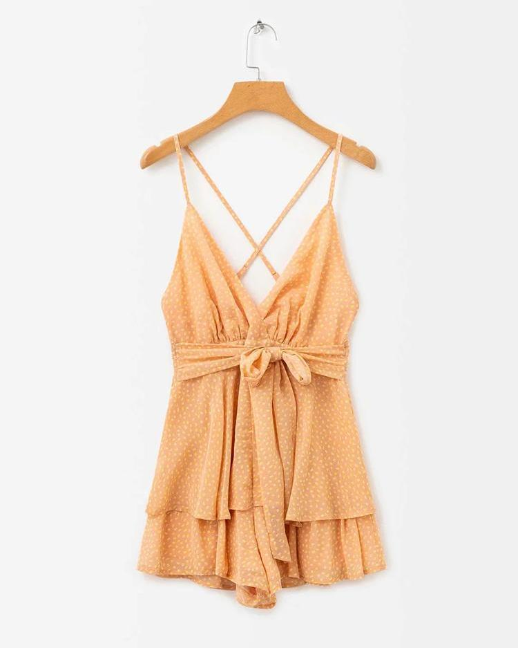 Dot Print Crisscross Backless Romper
