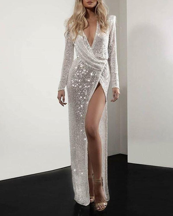 Deep V Sequined Slit Maxi Dress