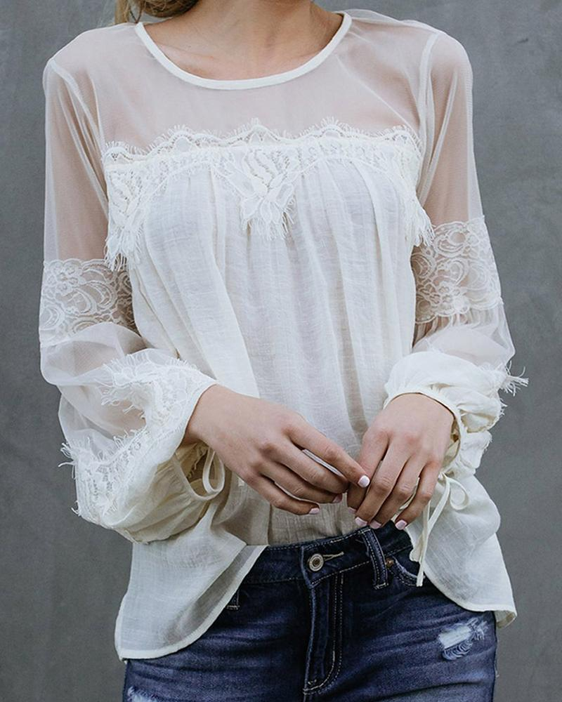 Lace Detail Mesh Insert Top