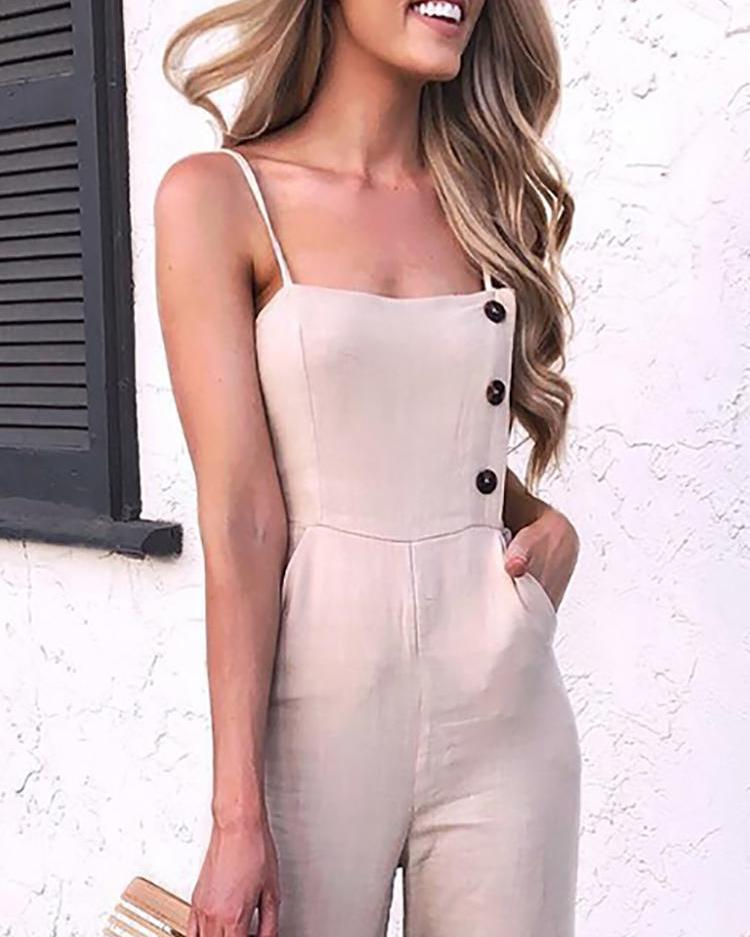 Solid Button Detail Spaghetti Strap Jumpsuit