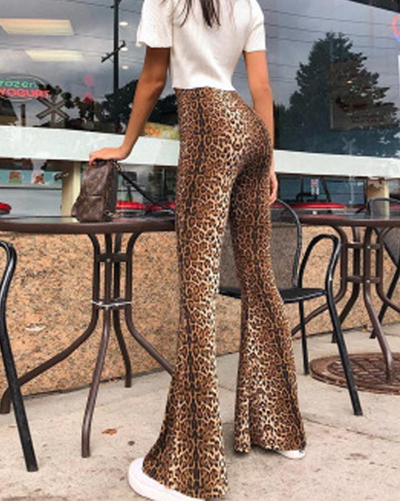High Waist Leopard Print Flare Trousers