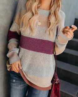 Colorblocks Long Sleeve Knit Sweater