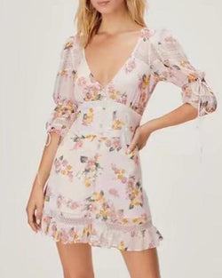 Long Sleeve Pink Floral Dress