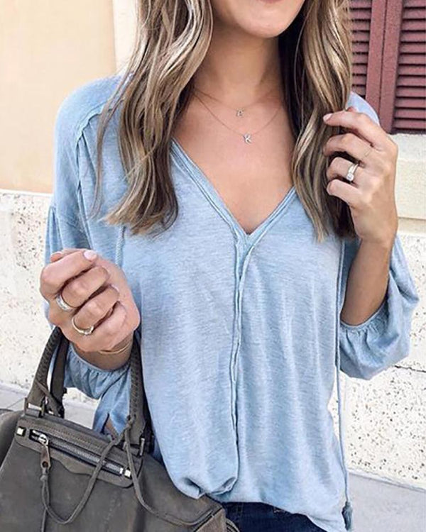 V-Neck Drop Shoulder Long Sleeve T-Shirt