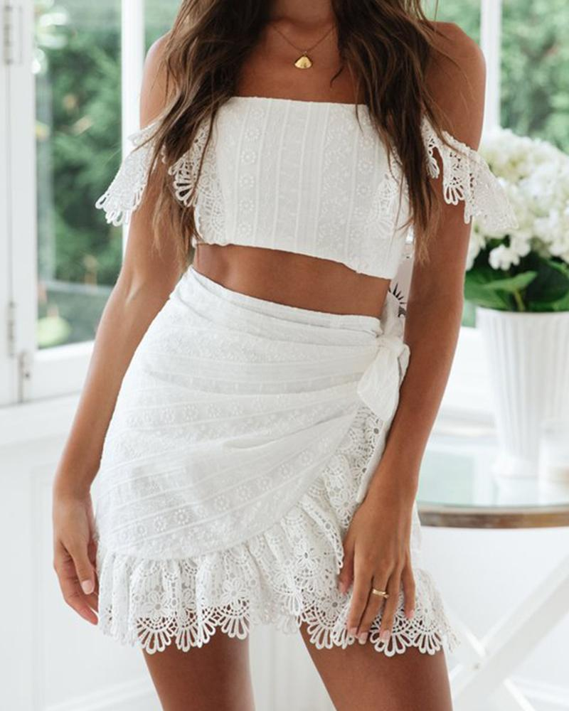 Lace Off Shoulder Tube Tops Mini Skirt Sets