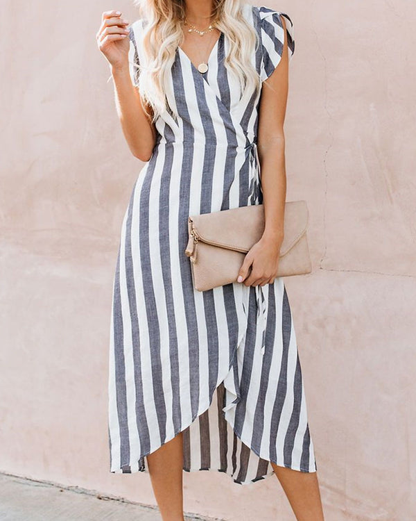 Striped Strap V-neck Belted Dress
