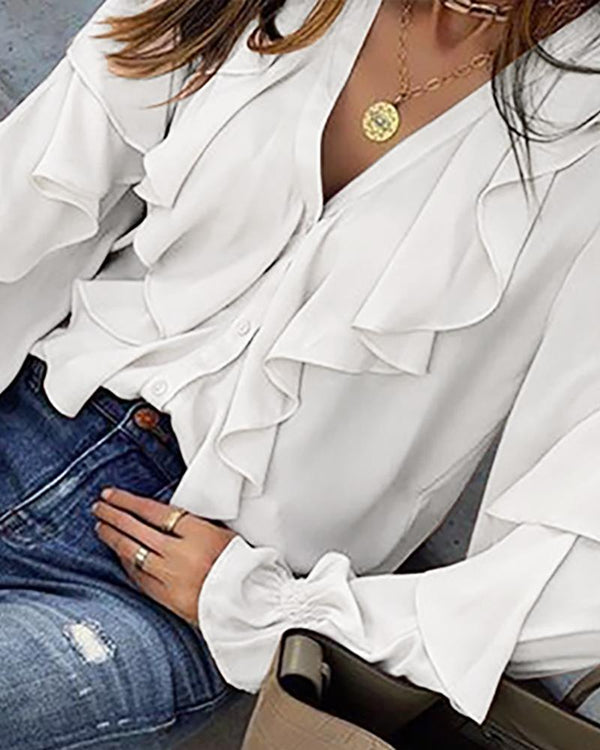 Solid Bell Sleeve Ruffles Casual Blouse