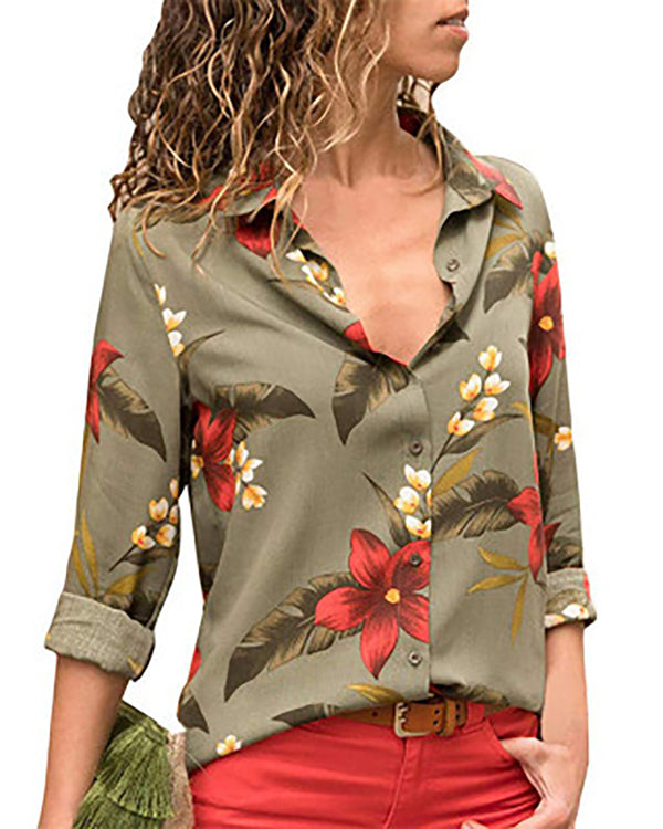 Floral Printed Turn-down Collar Shirt