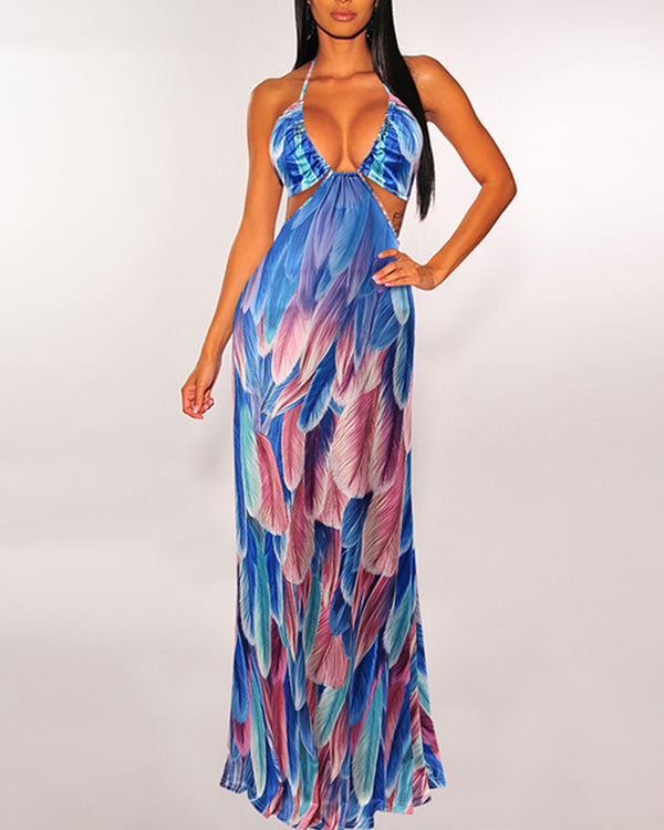 Multicolor Feather Cut-out Halter Sleeveless Maxi Dress