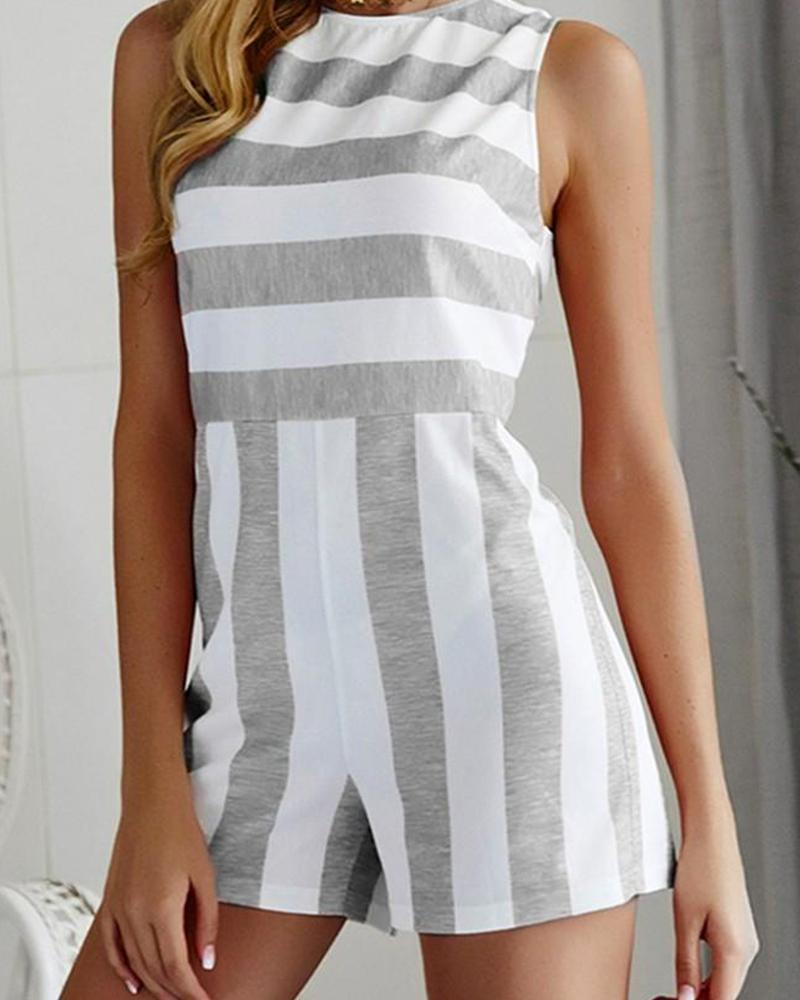 Striped Round Neck Romper