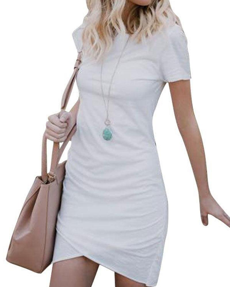 Short Sleeve Solid High Waist Sexy Bodycon dress