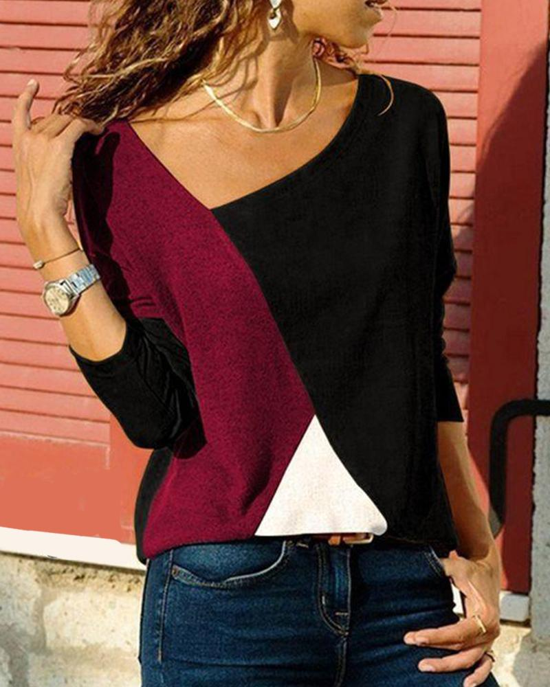Tricolor Colorblock Long Sleeve Top