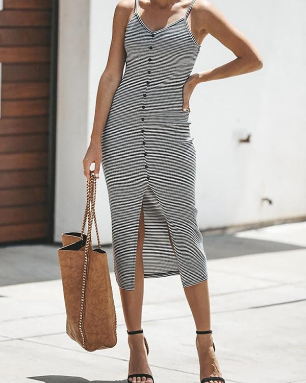 Pinstripes Spaghetti Strap Single-Breasted Slit Dress