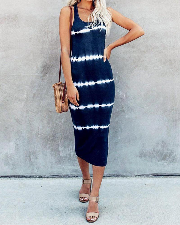 Tie-Dyed Round neck Striped collar sleeveless midi dress