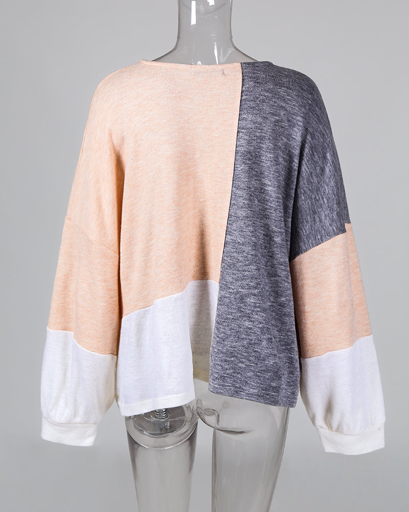 Colorblocks Long Balloon Sleeve Sweatshirt