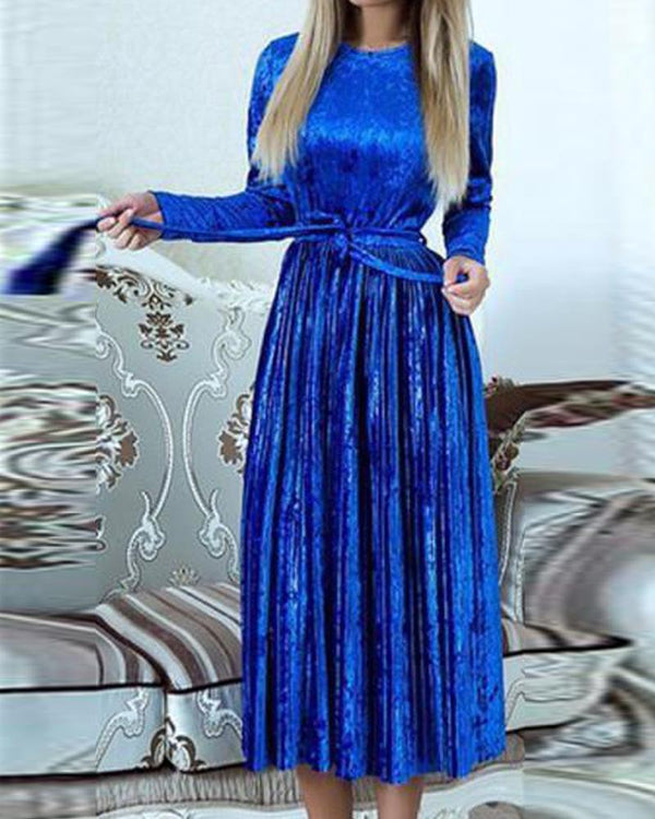 Velvet Tie Waist Pleated Dress