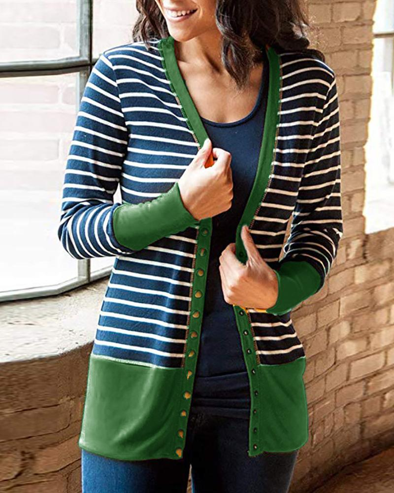 Striped Button Long Sleeve Cardigan