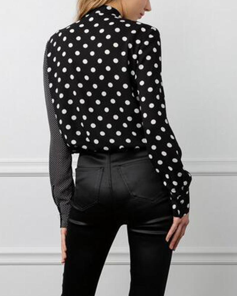 Asymmetrical Polka Dot Blouse