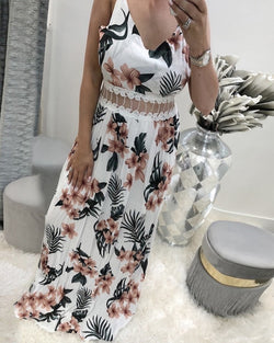 Floral Print Splicing Lace Mesh Sling Maxi Dress