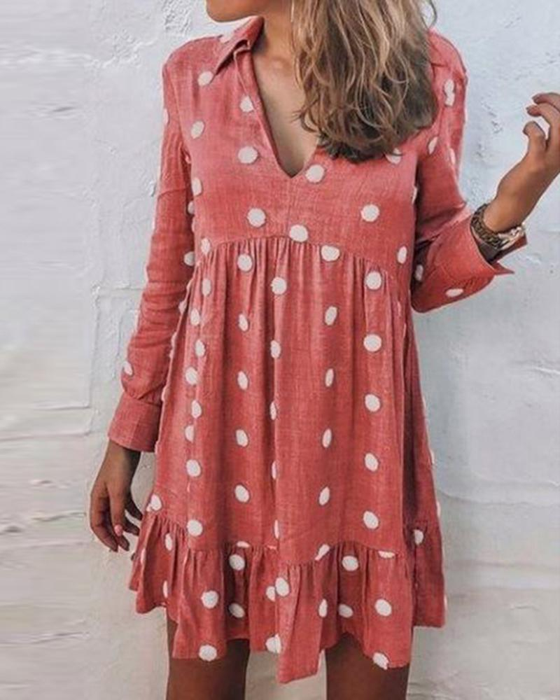 V-Neck Dot Print Mini Dress