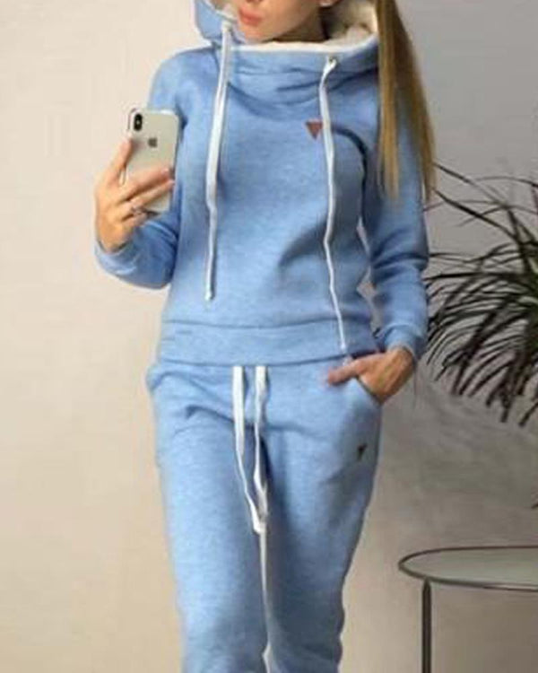 Solid Hooded Faux Fleece Tracksuit
