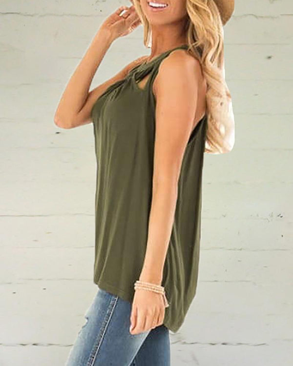 Twist Hollow Out Solid Sling Vest Top