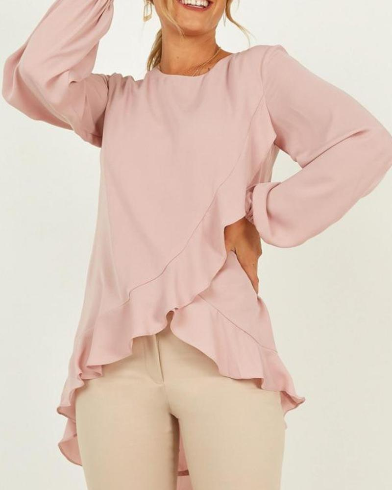 Solid Ruffle Trim Layered Top
