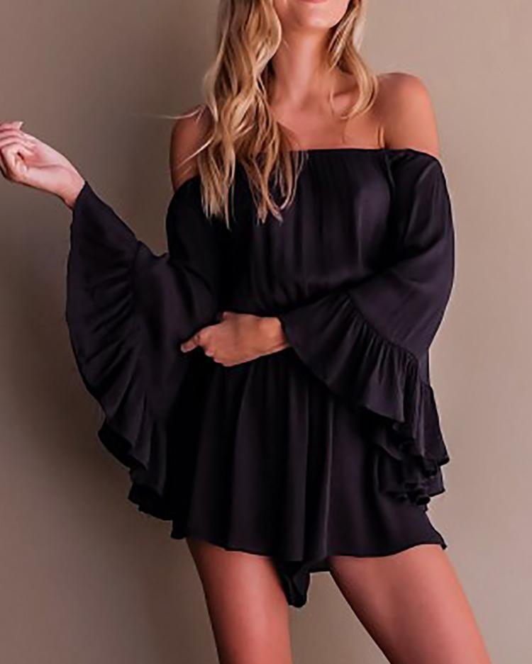 Off Shoulder Pleated Batwing Flare Sleeve Romper