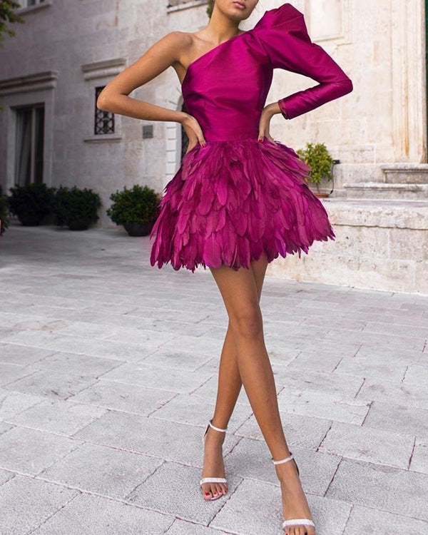 One Shoulder Feather Hem Mini Dress