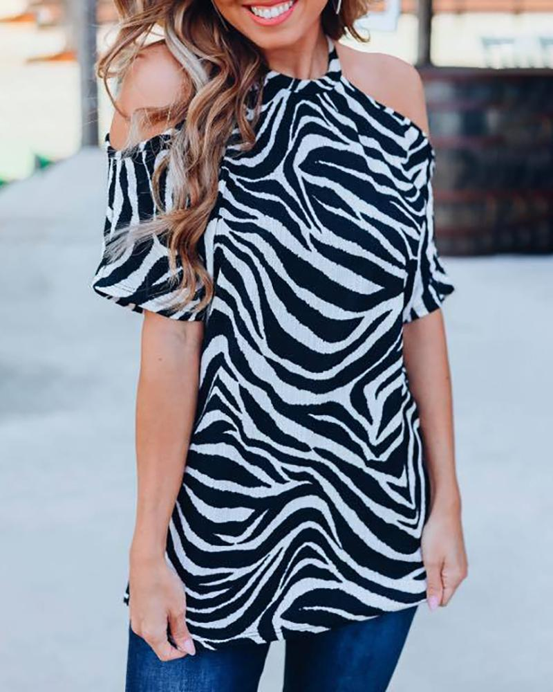 Cold Shoulder Abstract Striped Casual Blouses