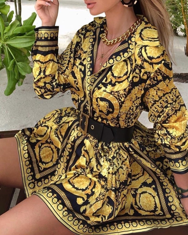 Vintage Scarf Print Long Sleeve Shirt Dress