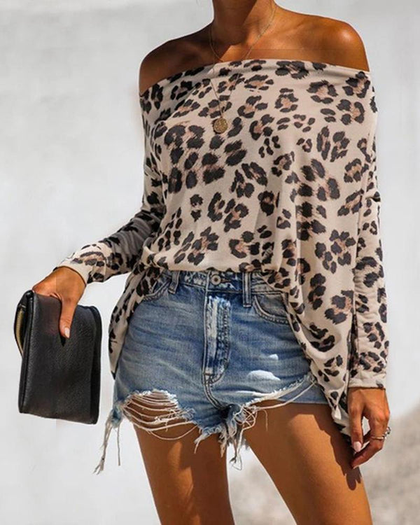 Leopard Off Shoulder Batwing Long Sleeve Tops