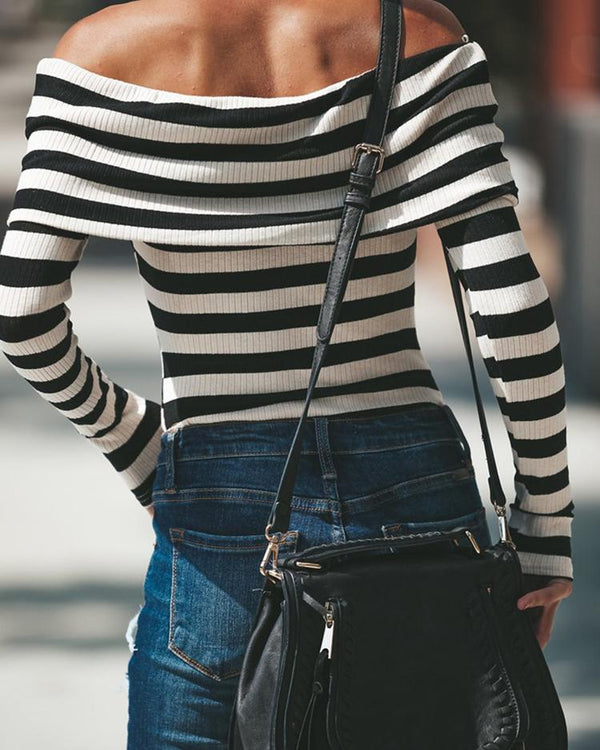 Stripes Fold-Ove Off Shoulder Bodysuit