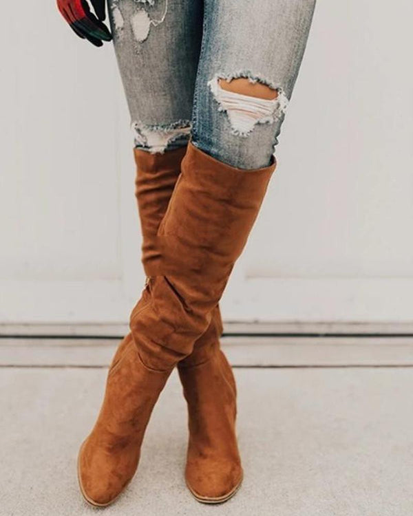 Solid Faux Suede Long Boots