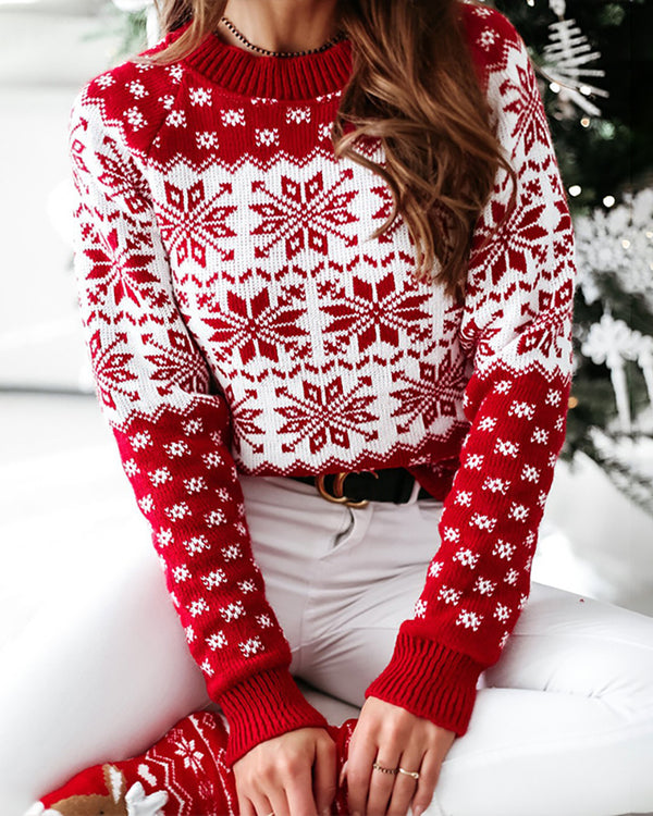 Christmas Snowflake Long Sleeve Knit Sweater