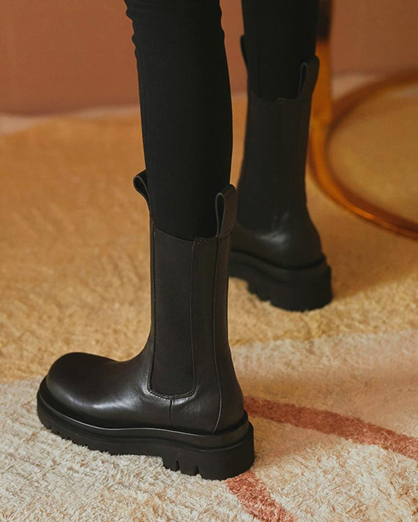 Solid Round-toe Platform Boots