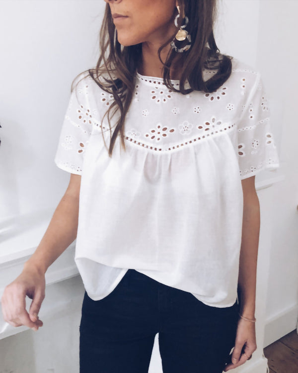 Solid Color Hollow Out Trim Babydoll Blouse