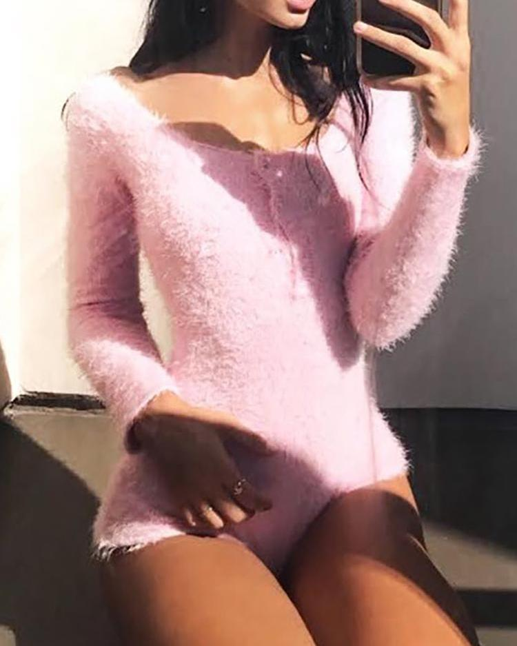 Fluffy Buttoned Long Sleeve Romper