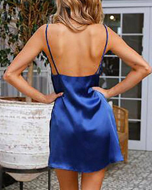 Spaghetti Strap Drap Neck Backless Mini Dress