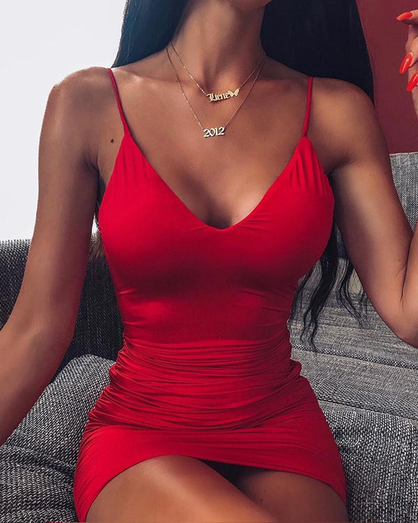 Red Scoop Neck Bodycon Dress
