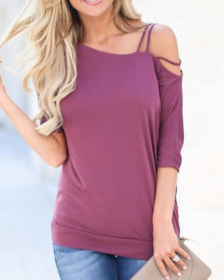 Asymmetrical Shoulder Casual T-Shirt