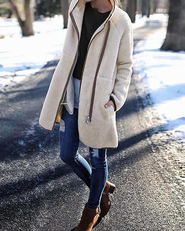 Contrast Binding Fluffy Long Sleeve Pocket Coats