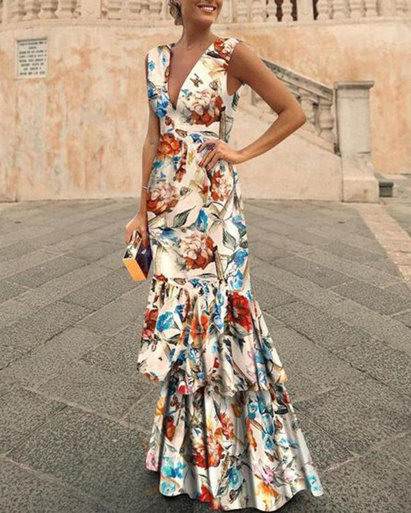 New Bohemian V-neck Slim Dress Ruffled Maxi Dress
